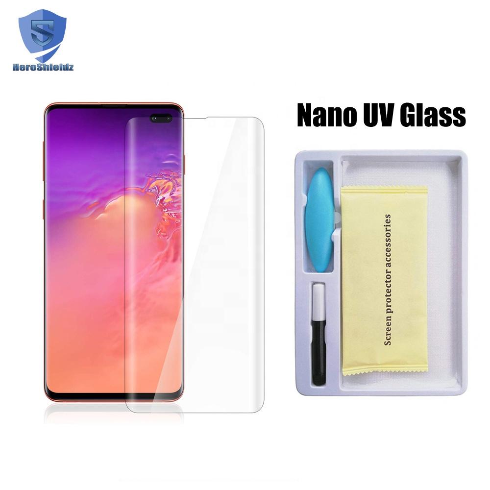 For Samsung S10/S10 Plus UV Nano Liquid Full Glue Glass Screen Protector S10/S10+ Fingerprint to Unlock UV Glass
