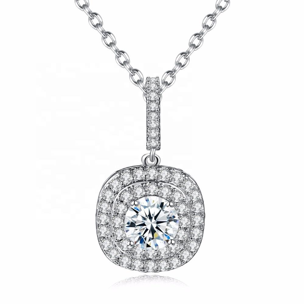 2019 New Design Women Luxury Elegant Jewelry Sparkle Micro Pave Cubic Zirconia Diamond Necklaces With Oval Pendant NN610