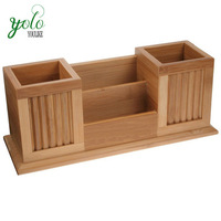 Wholesale 100% Natural Bamboo Office Storage Accessories Supply Desk Organizer Wooden With Tray