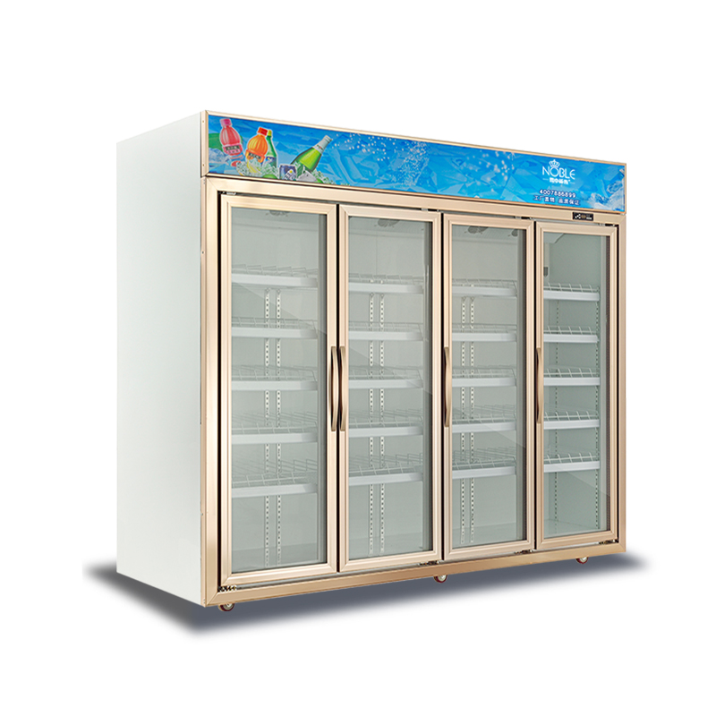 Supermarket Four Self-closing Glass Doors Refrigeration Air Cooling Vertical Freezer Cold Drink Display Refrigerator For Sale