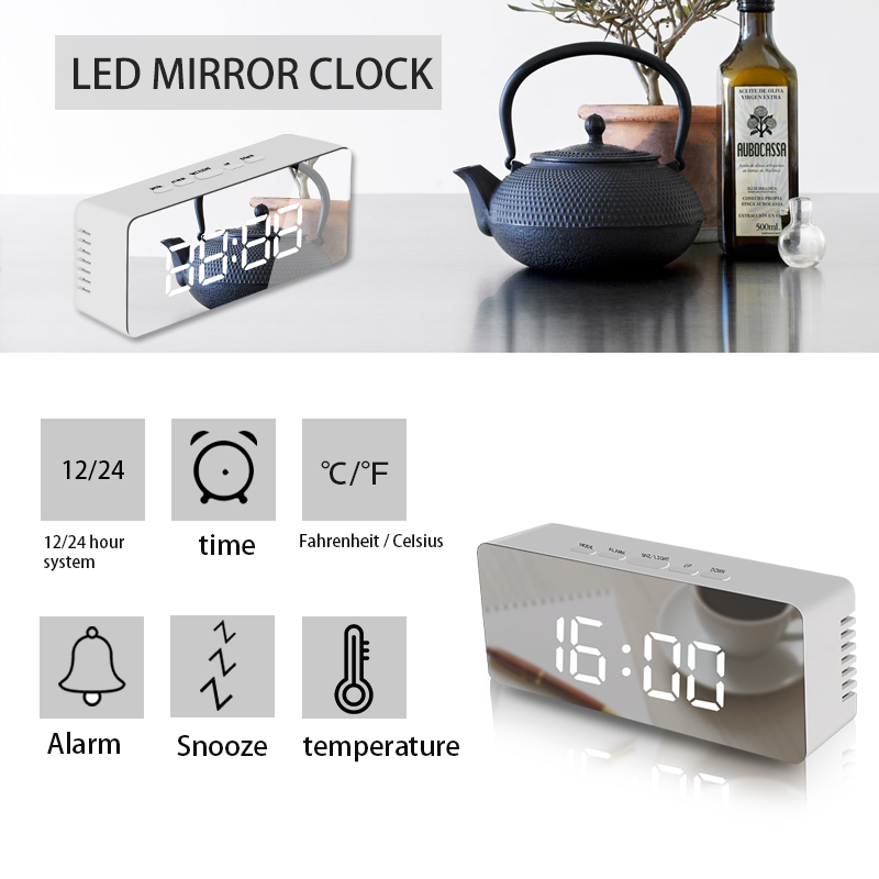 New Product High Quality Led Multi-function Digital Snooze Display Time Table Alarm Mirror Clocks Led Mirror Clock