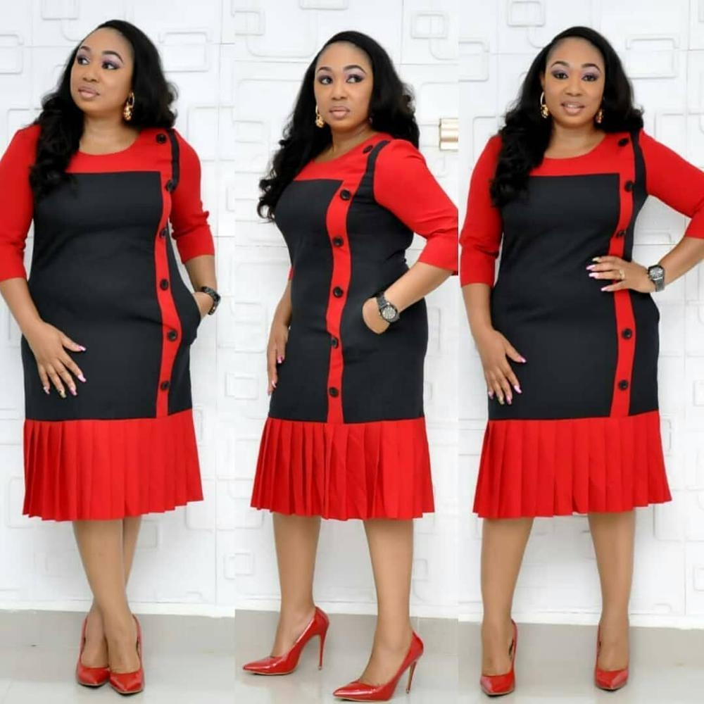 Alibaba.com / African office dress formal extra large size women's pleated pencil dresses