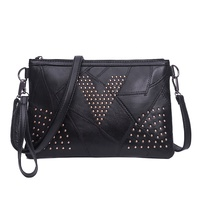 2019 cheaper women fashion leather Rivet shoulder messenger bag