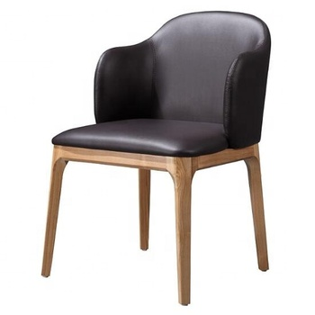 Restaurant furniture design wooden black leather dining chair