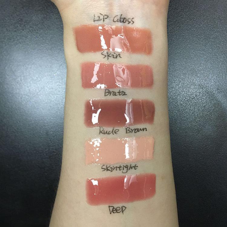 50pcs moq inventory glitter full plumer lip gloss your logo and box lip gloss