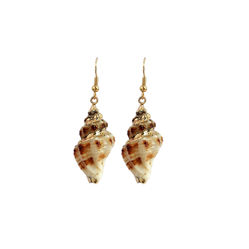 Unique Design Ladies Summer Seaside <strong>Hook</strong> Dangle <strong>Earrings</strong> <strong>Gold</strong> Plated Natural Shell Conch Drop <strong>Earrings</strong> For Women Jewelry