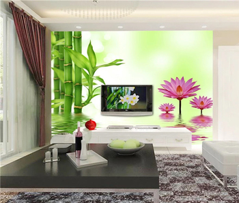 Pink Water Lotus And Green Bamboo Decor Living Room Wall Papers - Buy Pink  Water Lotus Wall Papers,Green Bamboo Decor Wall Papers,Lotus And Bamboo