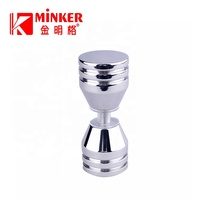 Door knob Bathroom Shower Double Side Stainless Steel Modern Handle And Small Clear Flat Glass Room Door Knob