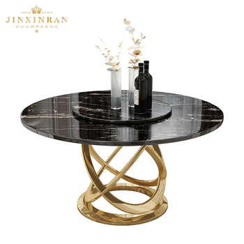 Hotel Banquet Table Luxury Granite Stone Top Round Rotating Dining