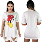 Oversized white cartoon character printed ripped short sleeve t shirt dress for women