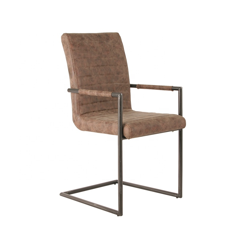 Restaurant Furniture Gold metal legs simple modern style PU leather dining chair with home furniture Living Room Dining Chairs