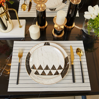 gold line bone china dining table sets for restaurant