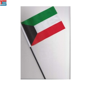 Hot Selling Kuwait Sticks Flag National 10x15cm Size Hand Waving Flag
