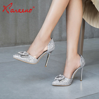 2019 Ladies gold sliver PU upper women wedding pumps 10cm high heel shoes for party