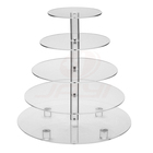 Custom 2 3 5 Tier Round Clear Food Display Stand Cupcake Stand Tower Acrylic Wedding Cake Stand