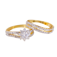 Latest design multicolor gold color fashion zircon wedding rings finger