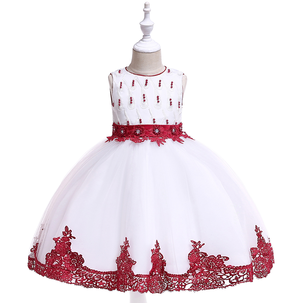 Wholesale Luxury Boutique Design Children's Clothing Girl Fancy Prom Wedding Event Frocks Small Kids Party Dress L5119