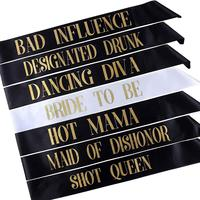 Bachelorette Sashes Bride to Be Sash Wedding Bridal Bachelorette Party Decorations Supplies Favors Short Queen Hot Mama