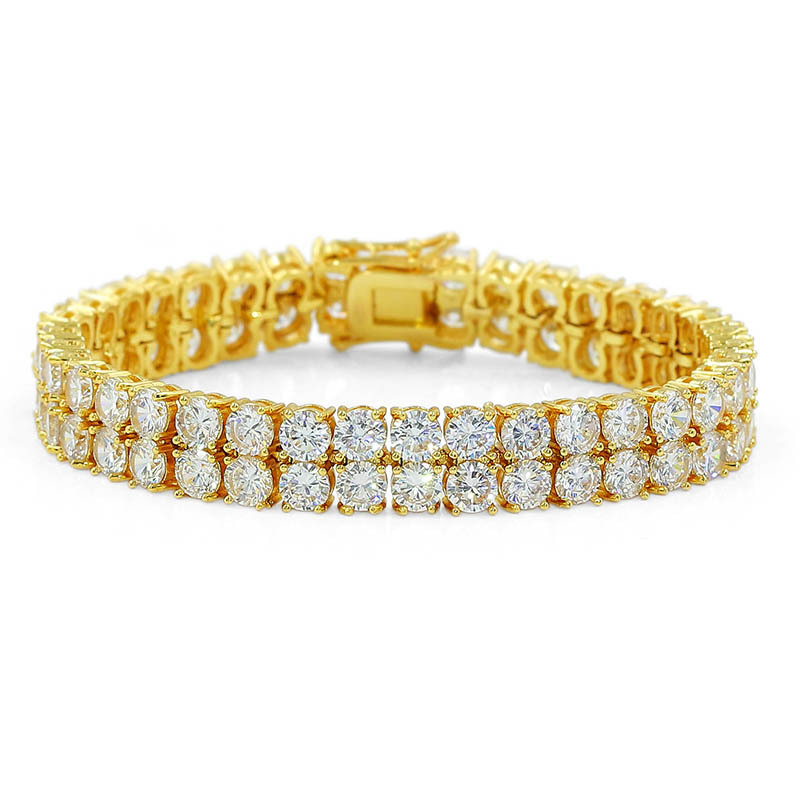 3 Colors Available Hiphops Double Row <strong>CZ</strong> <strong>Tennis</strong> Chain <strong>Bracelet</strong> Micro Pave Bling Bling Cubic Zirconia <strong>Tennis</strong> <strong>Bracelet</strong>