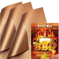 Copper Set of 3 0.12mm Thick Heavy Duty Non Stick Reusable Easy to Clean BBQ Grill Mats