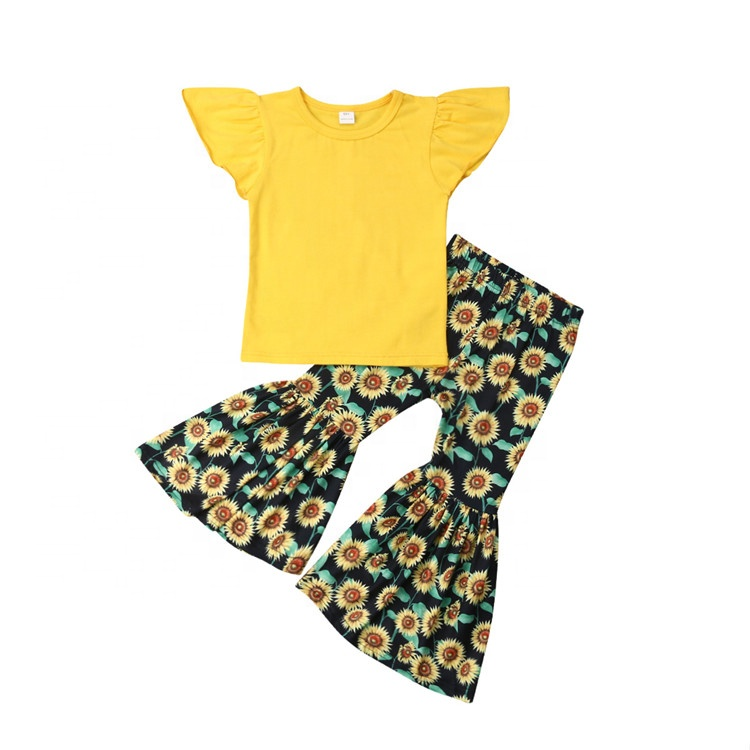 Beautiful Spring Kids Girls Pretty Clothes Set sunflower print  icing leggings Top Fancy Baby Girl coming home Outfits