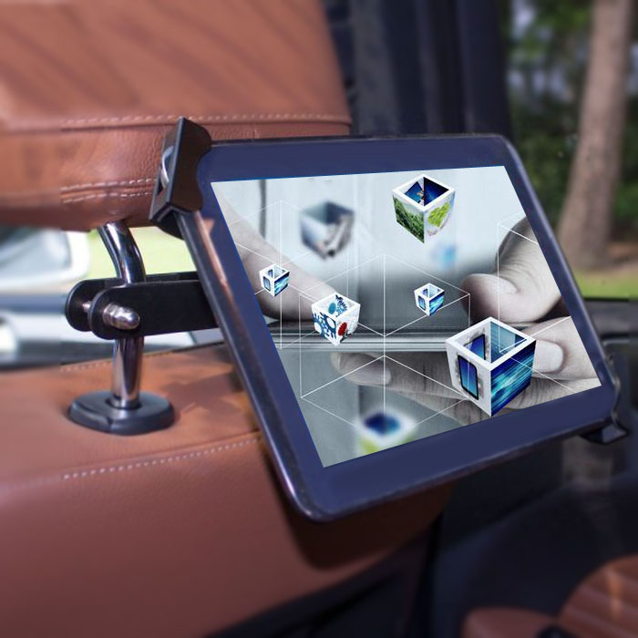 Anti theft security lockable tablet car mount holder taxi advertising backseat headrest tablet mount holder with lock