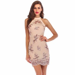 Fashion Clothing Off Shoulder Women Pencil Mini Bodycon Sleeveless Sexy Lace Sequined Halter Dress