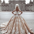 Turkey Istanbul Elegant Bridal Ball Gown Lace Gold Wedding Dresses