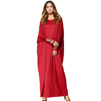 2019 cotton middle east loose batwing abaya african kitenge dress designs long muslim women clothing dress plus size shirts