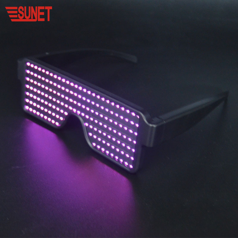 SUNJET New Product Custom Logo APP Control Programmable LED Luminous Animation Rechargeable Glasses For Party