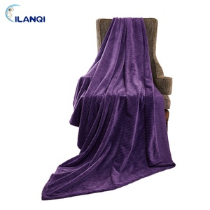 Claming Comfortable Blanket Light Color Flannel Fleece Jacquard Throw Blanket