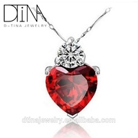 DTINA 925 Sterling Silver Ruby Love Pendant Bridal Jewelry Zircon Necklace