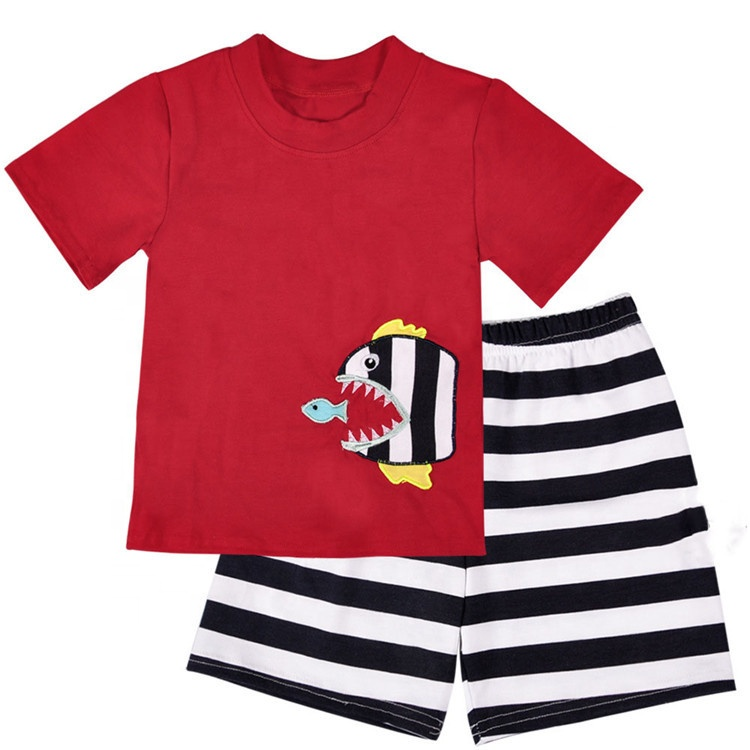 summer  boy clothing sets  wholesale boutique children clothes print fish