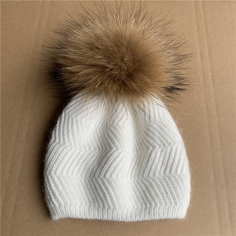 <strong>New</strong> Arrival Cute Knit Baby <strong>Hats</strong> Raccoon Fur Pom Pom <strong>Hats</strong> for Kids Child Baby Cashmere <strong>Hat</strong>