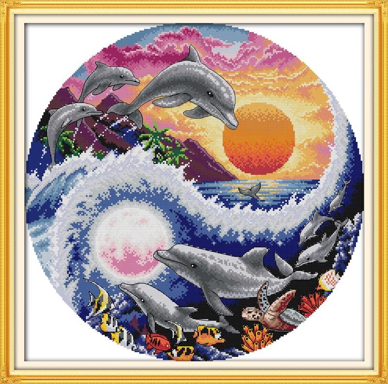 NKF Дельфин Вышивка крестом животные свободные узоры aida ткань dmc хлопок нить Вышивка крестом Комплект