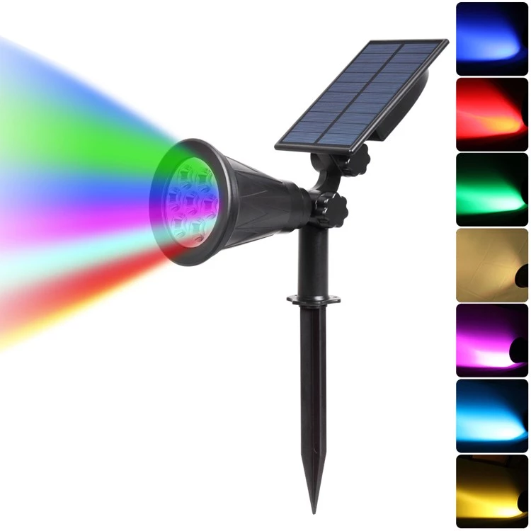 Amazon hot selling 7 LED RGB Mult color solar spot stake light for garden park villa flower courtyard outdoor