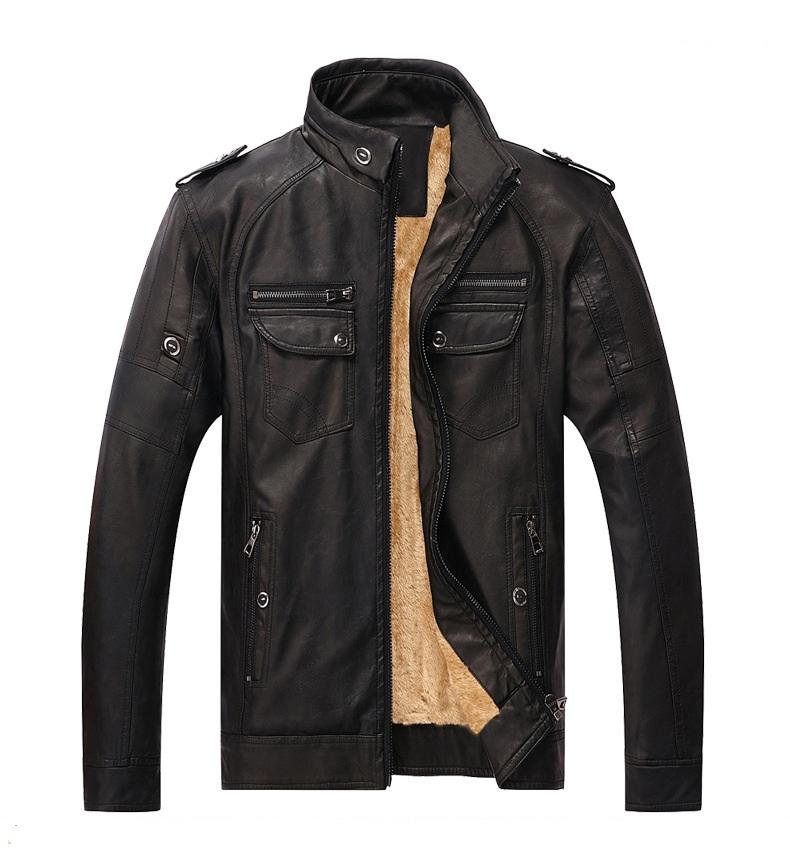 2019 lasted Classic PU Factory Custom Mens Slim Motorcycle PU Leather Jacket