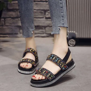 China factory summer cheap open toe women flat casual sequins design shoes  young ladies sandals