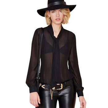 hot sale fashion design women summer black blouse plus size loose tops v neck chiffon blouse