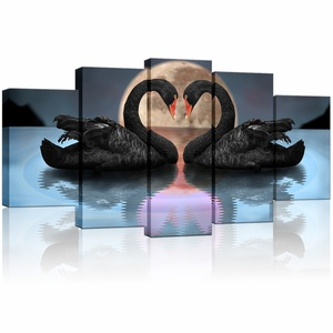 Large 5 Piece Swan Canvas Wall Art Black Swans Couples Showing Affection on Water in Full Moon Night Romantic Animal Art
