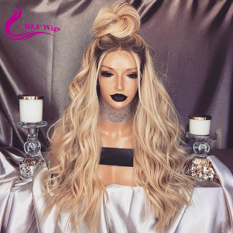 Free Lace Wig Samples, 4 22 Two Tone Human Hair Wigs, Ash Blonde Glueless Full Lace Wigs with Dark Root фото