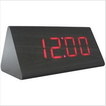 triangle digital led sound control wood clock with day date temperature display