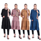 2019 Europe and America four color mix Muslim dresses Long flared Skirts Dress Islamic Clothing for Women