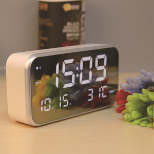 desktop mirror panel chord music alarm digital LED clock calendar