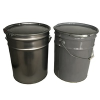 20L grease tin pail with lug lid and metal handle, 5 gallon bucket handle
