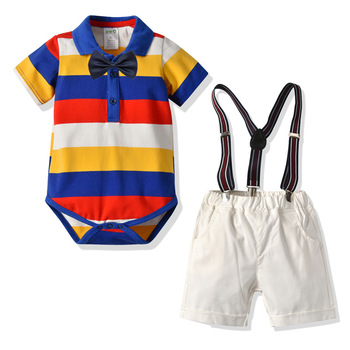 Wholesale boutique little boys clothes sets bow ties smocked romper + suspenders pants denim jeans toddler boy outfits suits