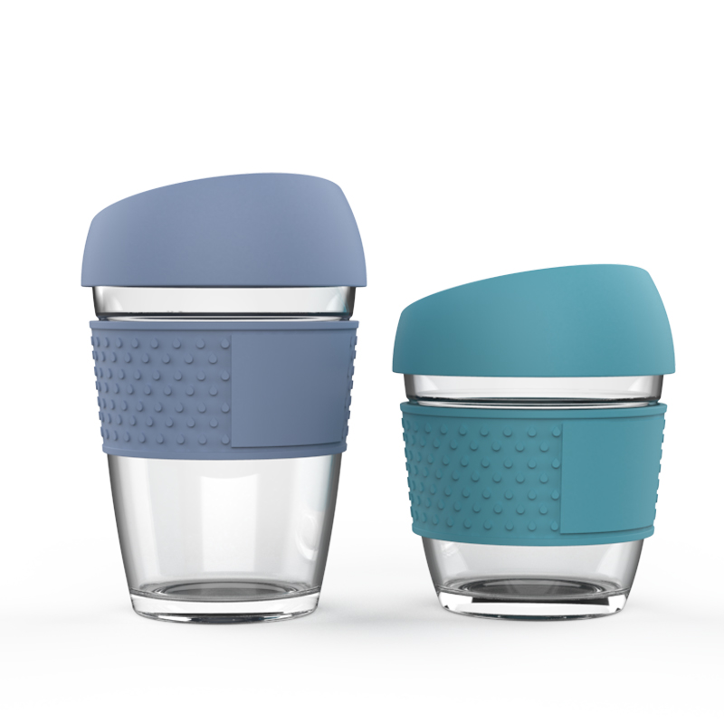 Silicone lid Reusable Glass Cup with cork cover lid coffee mug Hand To go coffee Cup фото