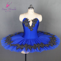 BLL107 Royal Blue Ballet Dance Tutu with Black/Gold Motif Accessories Pleated Tulle Ballet Pancake Tutus Solo Costume Dress