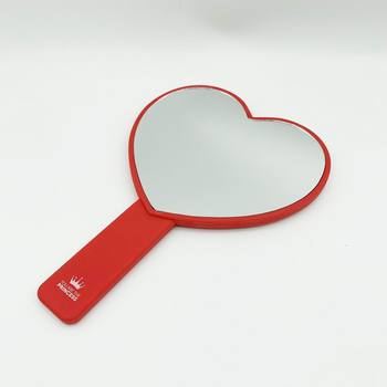 Elastic Paint Heart Shape Hand Mirror Personalized Custom LOGO UV Printing Cosmetic Makeup Handheld Mirror for Girls