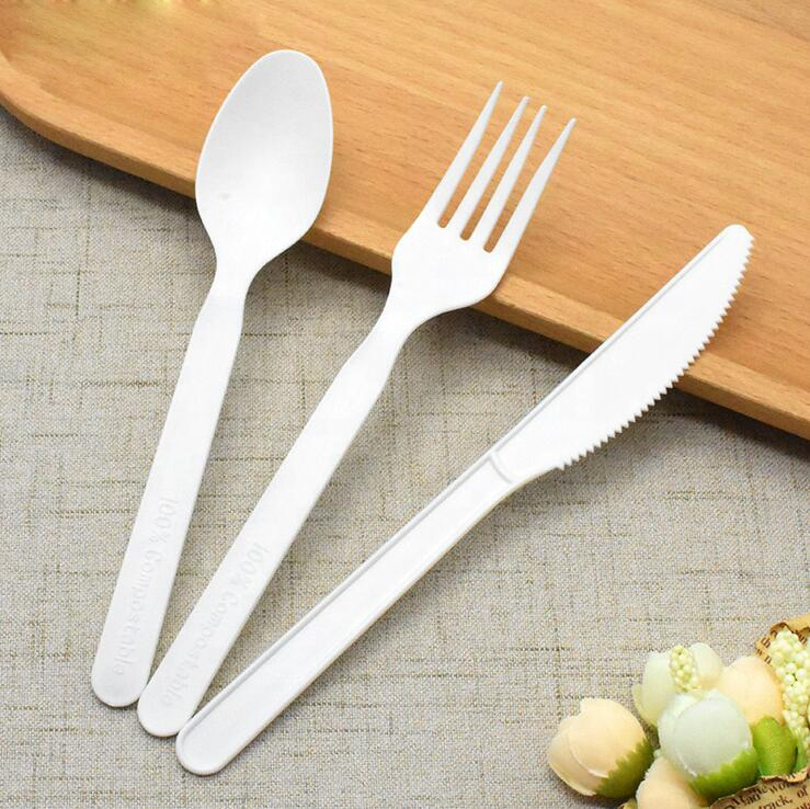 EcoNewLeaf Colour Bio Cutlery To Go Promotional Custom Wrapped Disposable Cornstarch Compostable Cutlery Pack Factory 7INCH